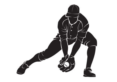 Ballplayer. Vector silhouette, isolated on white