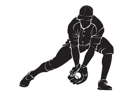 Honkballer. Vector silhouet, geïsoleerd op wit