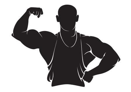 Bodybuilder. Vector silhouette isolé sur blanc Banque d'images - 38010236