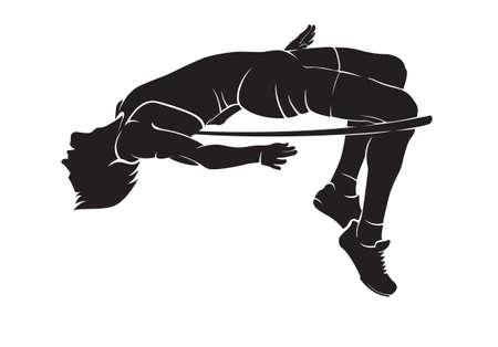 Hoogspringer. Vector silhouet op wit Stock Illustratie