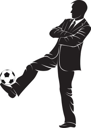 playing soccer: Soccer coach with ball. Vector silhouette on white