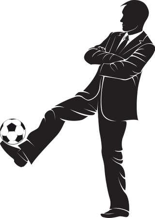 Trener piłkarski z piłki. Vector sylwetka na białym tle