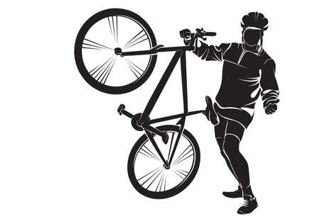 bicicleta vector: Ciclista con la bici. Vector silueta en blanco