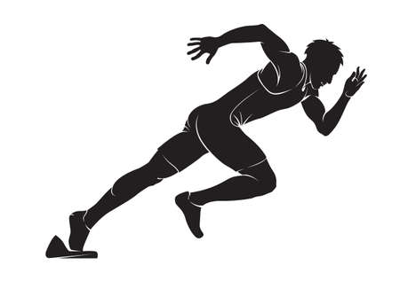 crouch: Runner. Vector silhouette isolated on white