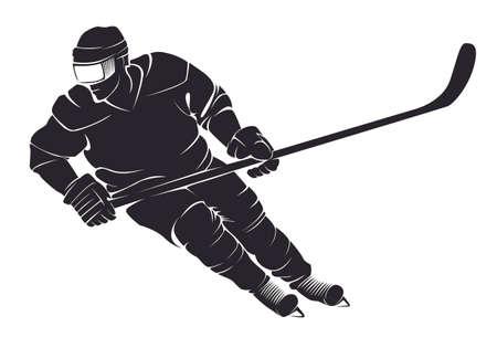 Hockey speler. Vector silhouet, geïsoleerd op wit Stock Illustratie