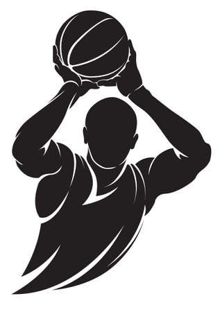 basketball shot: Basketball player. Vector silhouette, isolated on white