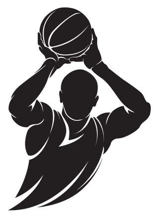 Basketbalspeler. Vector silhouet, geïsoleerd op wit Vector Illustratie