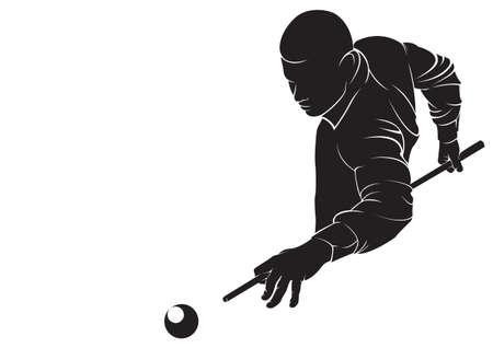 hombre disparando: Billar jugador. Vector silueta, aislado en blanco