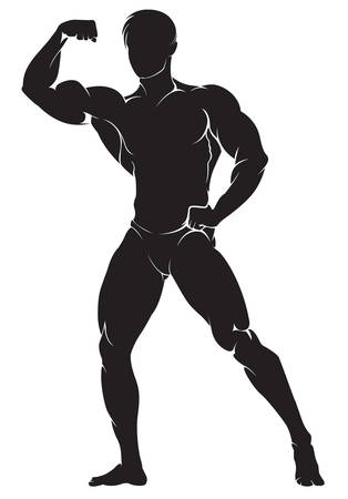 abdominal exercise: Bodybuilder. Vector silhouette against white background