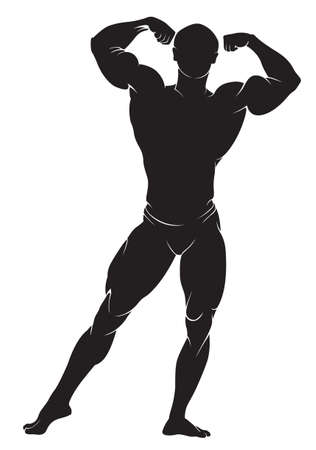 bodybuilding: Bodybuilder. Vector silhouette against white background