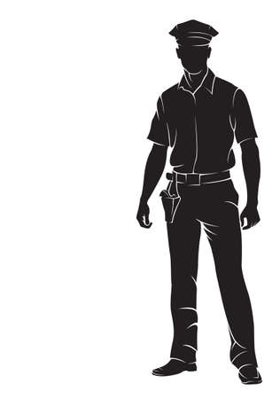 policier: Policier. Vector silhouette, isolé sur blanc