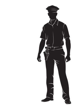 Politieagent. Vector silhouet, geïsoleerd op wit