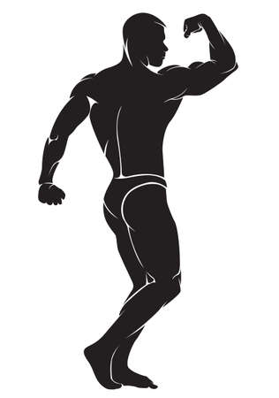 male body: Bodybuilder. Vector silhouette against white background