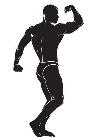 Bodybuilder. Vector silhouette su sfondo bianco Vettoriali