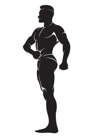 sportsmen: Bodybuilder. Vector silhouette against white background