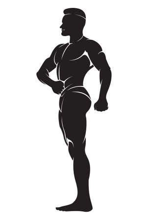 sportsman: Bodybuilder. Vector silueta contra el fondo blanco Vectores