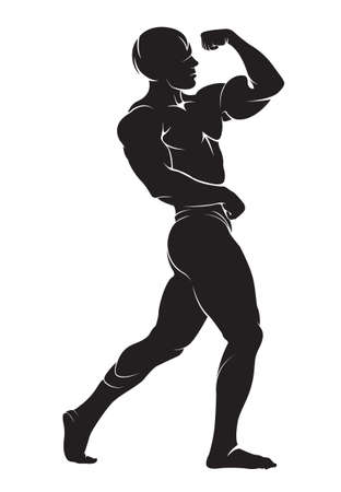 silueta hombre: Bodybuilder. Vector silueta contra el fondo blanco Vectores