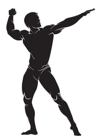 Bodybuilder. Vector silhouet tegen een witte achtergrond