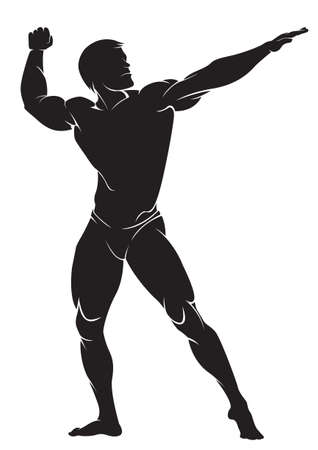 builder: Bodybuilder. Vector silhouette against white background