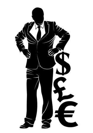 dl: Businessman. Boss with money symbols. Vector silhouette on white background