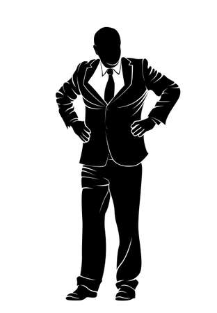 guy standing: Businessman. Boss. Vector silhouette on white backgound