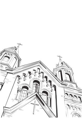 old church: Cathedral. Vector illustration