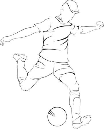 Football (soccer) player with ball. Vector linen silhouette