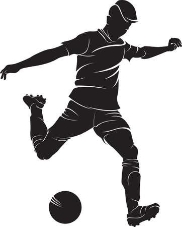フットボール (サッカー) プレーヤーがボール、白で隔離です。ベクター シルエット  イラスト・ベクター素材