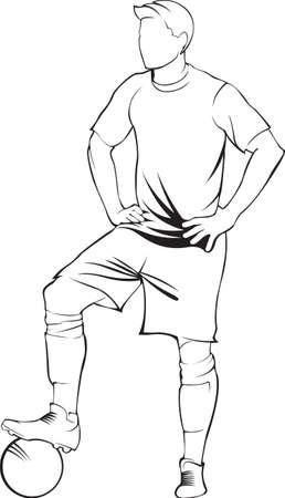 shoot: Football (soccer) player with ball. Vector linen silhouette