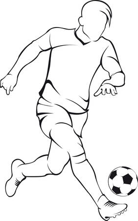 line drawing: Football soccer player. Vector linear silhouette