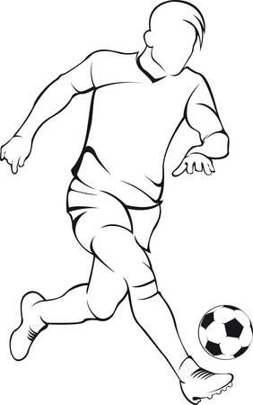 fila de personas: Jugador de fútbol del balompié. Vector silueta lineal Vectores