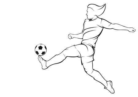 championship: Football soccer player. Vector linear silhouette
