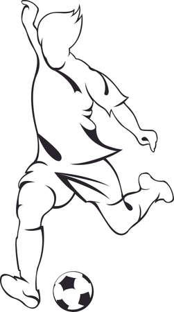 Football voetballer. Vector lineaire silhouette Stock Illustratie