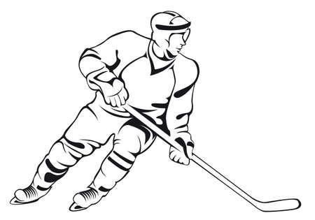 Hockey player. Vector linear silhouette, isolated on white