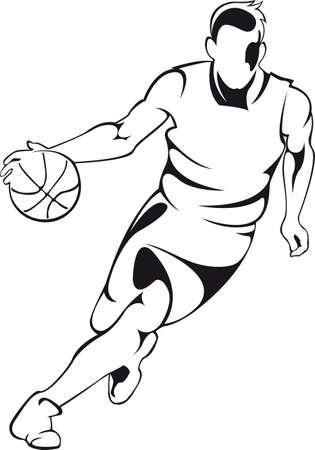 Jugador de baloncesto. Vector lineal silueta, aislado en blanco