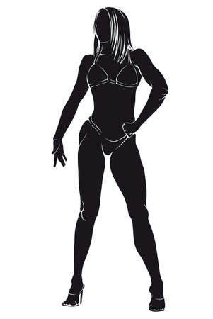 against white: Bodybuilder-woman. Vector silhouette against white background