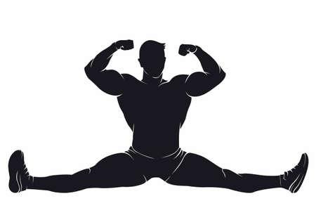 Bodybuilder sitting in the splits. Vector silhouette on white background Ilustrace