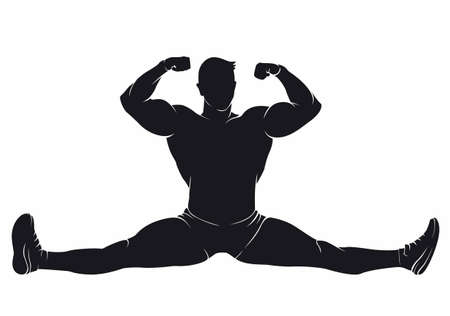 Bodybuilder sitting in the splits. Vector silhouette on white background Illustration