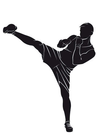 Kickboxer. Vector silhouette on white background Illustration