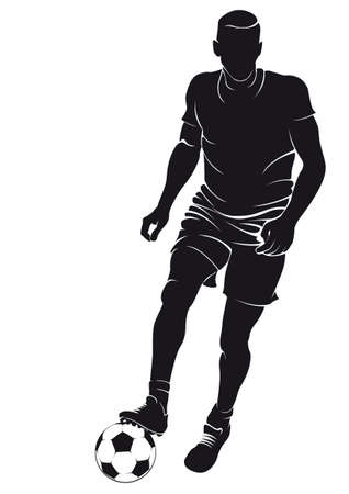 Football (soccer) player with ball, isolated on white. Vector silhouette