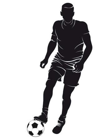 Voetbal (voetballer) speler met bal, geïsoleerd op wit. Vector silhouet Stock Illustratie