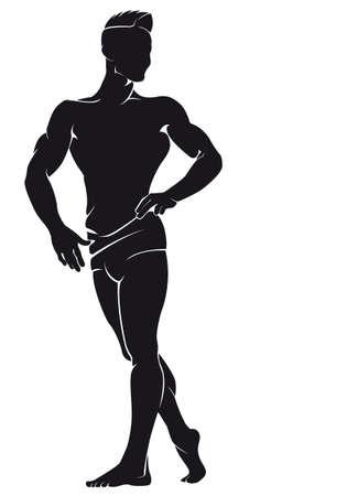 Bodybuilder. Vector silhouet tegen witte achtergrond