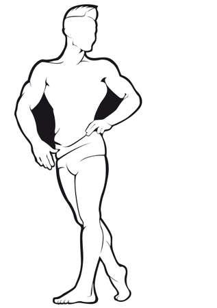 Bodybuilder. Vector contour against white background
