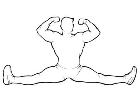 Bodybuilder sitting in the splits. Vector contour on white background