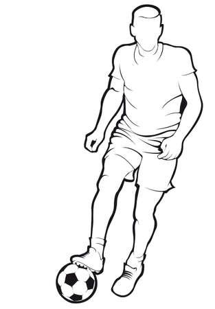 Voetbal (voetballer) speler met bal. Vector illustratie