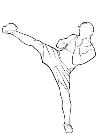 Kickboxer. Vector contour op witte achtergrond