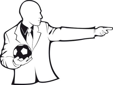 Coach with a soccer ball. Vector contour on white