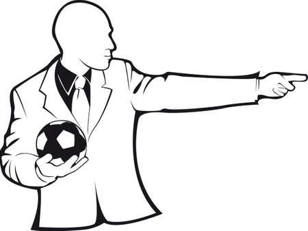 Coach with a soccer ball. Vector contour on white