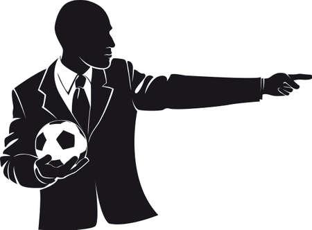 Coach met een voetbal. Vector silhouet geïsoleerd op wit