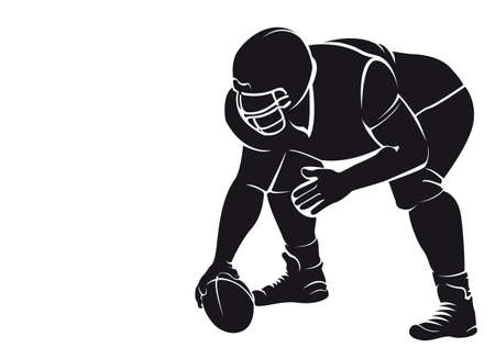 American football player, silhouette, isolated on white